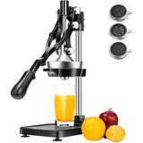 VIVOHOME 3 In 1 Heavy Duty Commercial Multifunctional Manual Hand Press Citrus Orange Juicer Squeezer & French Fries Apple Cutter Machine in Black