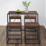 Vifah Riley 4 - Person Dining Set Wood/Metal/Upholstered Chairs in Black/Brown/Gray, Size 5.0 H in   Wayfair V817SET2