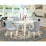 George Oliver Briannia Drop Leaf Rubberwood Solid Wood Dining Set Wood/Upholstered Chairs in White, Size 30.0 H in   Wayfair