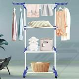 Rebrilliant Clothes Drying Racks For Laundry Foldable 3-Tier Rolling Collapsible Garment Laundry Dryer Hanger Rack Rail Stand Stainless Folding Indoor/Outdoor Wit