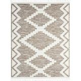 Dakota Fields Darr Southwestern Cream Area Rug Polyester/Polypropylene in White, Size 62.0 W x 0.4 D in   Wayfair 37922C1DCC134F1EAE58F3D3D0860DE8