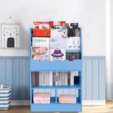 "Ebern Designs 39.4""H X 24.6""W Wood Standard Bookcase w/ Tilt Bookshelf Wood in Blue, Size 39.4 H x 24.6 W x 11.8 D in | Wayfair"