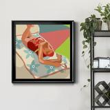 Highland Dunes Beach Beauty II - Picture Frame Print on Canvas Canvas and Fabric in Black/Blue/Brown, Size 16.0 H x 16.0 W x 1.0 D in | Wayfair