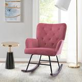 Gemma Violet Modern Velvet Rocking Chair For Living Room Upholstered Comfortable Nursery Rocking Chair w/ Solid Wood Base For Bedroom Accent Chair