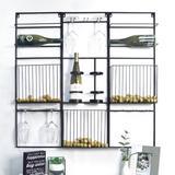 Latitude Run® Pyburn Hanging Modular 6 Bottle Wall Mounted Wine & Glass Rack Metal in Black, Size 36.0 H x 36.0 W x 3.0 D in   Wayfair
