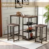 Mercer41 Modern Counter Height Dining Set 3 Piece Pub Set w/ Multi-Layer Storage Shelf Wood/Metal in Black/Brown, Size 36.2 H in | Wayfair
