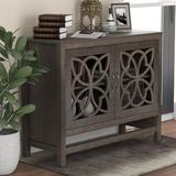 Red Barrel Studio® Pine Wood Accent Cabinet w/ 2 Fretwork Doors Entryway Storage w/ Adjustable Shelf For Entryway Kitchen Dining Room in Gray