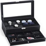 Latitude Run® Watch Box Watch Case Weave Pattern Watch Organizer Lockable Jewelry Case w/ Drawer Sunglasses Holder Earrings Storage PU Leather Jewelry Organizer W