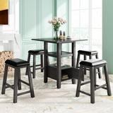 Gracie Oaks Dining Table Set in Gray, Size 36.0 H x 31.5 W x 31.5 D in   Wayfair E43178B997C3462C9FBF1E48FFA5F690