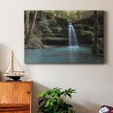 Millwood Pines Crystal Blue - Wrapped Canvas Print Canvas & Fabric in Black/Brown/Green, Size 12.0 H x 18.0 W x 1.0 D in | Wayfair