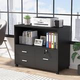 Inbox Zero 3 Drawer File Cabinet w/ Lock, Mobile Lateral Filing Cabinet w/ Rolling Wheel in Black, Size 26.0 H x 32.0 W x 16.0 D in | Wayfair
