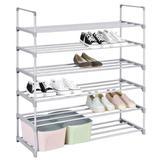 Rebrilliant 18 Pair Stackable Shoe Rack Plastic/Metal in Gray, Size 41.0 H x 35.0 W x 11.0 D in   Wayfair EE35153885714BA39DF6452983E6D122