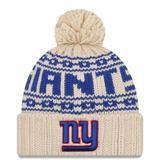 """Women's New Era Cream York Giants 2021 NFL Sideline Pom Cuffed Knit Hat"""