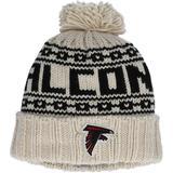 """Women's New Era Cream Atlanta Falcons 2021 NFL Sideline Pom Cuffed Knit Hat"""