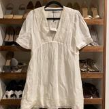 Zara Dresses | Embroidered Baby Doll Dress | Color: Cream | Size: S