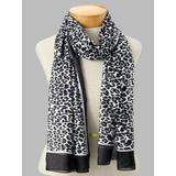 Women's Oblong Leopard-Print Scarf, Black Leopard/Black N/A