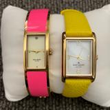 Kate Spade Accessories   Kate Spade Hot To Trot In A N.Y. Minute Watch Lot   Color: Gold/Pink/Yellow   Size: Bangle With Clasp On Pink And Adjustable On Othe