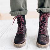 Free People Shoes | Free People Taos Lace Up Combat Boots Fur Hair 41 | Color: Purple | Size: 11
