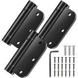 """mskey 3.5"""" Self-Closing Door Hinges, 3.5 Inch X 3.5 Inch Spring Hinges, Stainless Steel Adjustable Door Hinges w/ 5/8"""" Radius Corners in Black"""