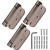 """mskey 3.5"""" Self-Closing Door Hinges, 3.5 Inch X 3.5 Inch Spring Hinges, Stainless Steel Adjustable Door Hinges w/ 5/8"""" Radius Corners in Brown"""