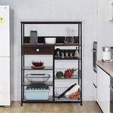 romeidata Kitchen Baker's Racks Microwave Stand Utility Kitchen Storage Shelf w/ Drawer & Mesh Baskets Organizer Rack in Black | Wayfair
