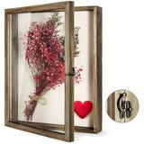 Gracie Oaks Flowers Shadow Box Frame w/ Glass Window Picture Frame Wedding Bouquet Memorabilia Medals Photos Memory Box For Keepsakes Wood in Brown