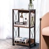 17 Stories 3 Tier Kitchen Cart Bookshelf Microwave Cart Industrial Style Standing Shelf Kitchen Bakers Rack w/ Rolling Lockable Caster For Kitchen