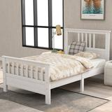 Red Barrel Studio® Wood Platform Bed w/ Headboard & Footboard, Full Size Wood in White, Size 39.2 W x 75.9 D in | Wayfair