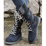 PAOTMBU Women's Casual boots BLUE - Blue & Gray Sweater Cuff Combat Boot - Women