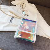 Universal Fashion Chic Holographic Iridescent Clear Mini Purse Bag With Crossbody Gold-Tone Chain, White/Clear For Galaxy Watch Active 40mm