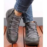 RXFSP Women's Casual boots Grey - Gray Elastic-Strap Leather Ankle Boot - Women