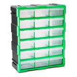 Steel Vision Tool Boxes Black/Green - Black & Green 18-Drawer Interlocking Storage Container
