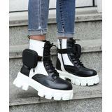 PAOTMBU Women's Casual boots WHITE - White & Black Pouch Combat Boot - Women