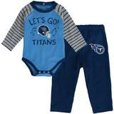 Infant Light Blue/Navy Tennessee Titans Touchdown Raglan Long Sleeve Bodysuit & Pants Set