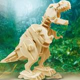 TRUST 3D Wooden Puzzle-Robotic Dinosaur Toys,Sound Controlled Walking T-Rex Jigsaw Puzzle Engineering Toy,Building Model Wood Craft Kit,Brain Teaser Games