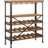 kinyals Wood Wine Rack 5-Tier Free Standing Wine Racks Wine Storage Rack 21-Bottle Stackable Capacity Wine Rack Display Shelves w/ Glass Holder Rack Wobble