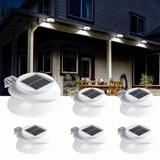 LAKEKYD Solar Gutter Lights Outdoor 6 Pack, 9 LED Deck Fence Lights Waterproof For Wall, Deck, Fence, Stair, Step & Yard() in White   Wayfair