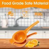 shanglixiansenxinmaoyi Manual Juicer, Citrus Lemon Hand Press, Metal Fruit Juice Squeezer, Large Size in Orange, Size 3.2 H x 3.6 W x 9.1 D in