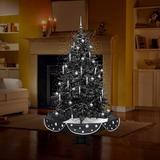 """The Holiday Aisle® 6'3"""" Snowing Musical Artificial Christmas Tree w/ 80 Clear/White Lights in Black, Size 75.0 H x 80.7 W x 80.7 D in   Wayfair"""