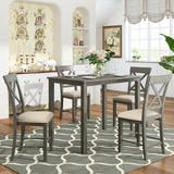 Gracie Oaks Dining Table & Chair Set, Square Table w/ Four Upholstered Chairs, Simple & Modern in Brown/Gray, Size 36.0 H x 29.5 W x 45.5 D in