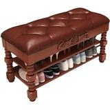 Canora Grey Shoe Bench, Solid Wood Storage Bench Entryway w/ Lift Top, 2-Tier Vintage Shoe Rack w/ Seating Wood in Brown | Wayfair