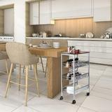 17 Stories Rustic Kitchen Cart On Wheels, 3-Tier Wire Storage Rolling Cart, Wood Look Top & Metal Frame, Silver, Size 30.0 H x 17.3 W x 11.2 D in