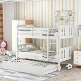 Harriet Bee Twin Over Twin Bunk Bed w/ Trundle & Ladder For Kids, Teens Bedroom, Guest Room Furniture- Wood in White, Size 41.4 W x 79.6 D in