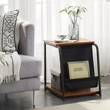17 Stories Modern Nightstand Side End Table w/ Magazine Holder Sling Stackable Accent Furniture For Office Living Room Wood/Upholstered/Metal