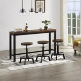17 Stories Cordaro 3 - Person Counter Height Dining Set Wood/Metal in Black/Brown/Gray, Size 35.8 H in | Wayfair 60F5D1CEFD5E41A7B20920E8CCB5A4B8