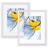 Rosalind Wheeler Floating Picture Frames, Floating Display For Fotos 2X3, 3.5X5, 5X7 Or Full Display Without Floating For 8X10 Fotos, 2 Pack Wood