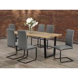 17 Stories Dining Set 1 Faux Live Edge Wood Table w/ Black Metal U Shape Legs & 6 Chairs Grey PU Cushion Seat w/ Horizontal Stitching Details