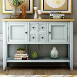 Rosecliff Heights Buffet Table, Cambridge Series Sideboard Table w/ Bottom Shelf, Console Table Dining Room Server in Green   Wayfair