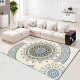 Charlton Home® 2.7X4ft Traditional Area Rug Home Oriental Heriz Medallion Persien Carpet Runner Mat Polyester in Blue/White, Size 1.0 D in | Wayfair