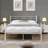 Latitude Run® Metal Bed Frame, Double Bed Frame w/ Headboard, w/ Anti-Slip Mat, Noise-Proof, Simple & Generous, Can Be Stored Under The Bed Metal